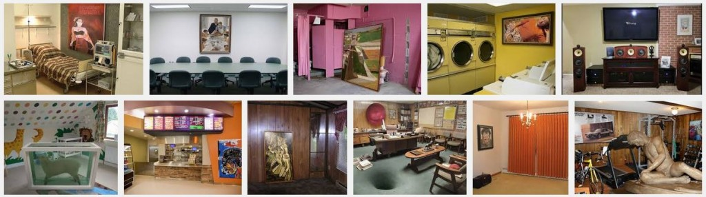 De avond luidde in met foto's van Greatartinuglyrooms, hoe zouden museumstukken bij de mensen thuis hangen?